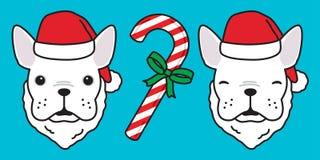 Psia wektorowa francuskiego buldoga Święty Mikołaj ikony loga zimy wakacje kreskówki Bożenarodzeniowa ilustracja ilustracja wektor