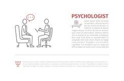Psicólogo, linha ícone do vetor do consultante, sinal, ilustração royalty free