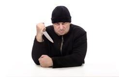Psicópata agresivo con el cuchillo grande Fotos de archivo libres de regalías