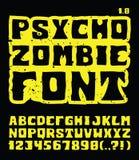 Psico fonte tipografica delle zombie Immagini Stock Libere da Diritti