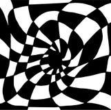 Psicodélico torció el ornamento abstracto, dividido en cuadrados blancos y negros Fondo surrealista de la ilusión decorativa stock de ilustración