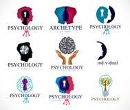 Psicología, cerebro humano, psicoanálisis y psicoterapia, relat ilustración del vector