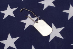 Psie etykietki z flaga amerykańską Obrazy Royalty Free
