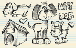 psiego doodle szczeniaka ustalony nakreślenie Obrazy Stock