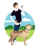 psiego mężczyzna chodzący potomstwa Fotografia Royalty Free