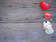 Psiego roku valentine 2018 abstrakcjonistyczny tło z drewnianą teksturą Fotografia Royalty Free