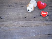Psiego roku valentine 2018 abstrakcjonistyczny tło z drewnianą teksturą Obraz Royalty Free
