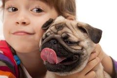psiej dziewczyny mały mops Zdjęcie Royalty Free