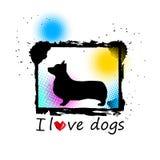 Psiej głowy szczeniaka zwierzęcego białego zwierzęcia domowego wektorowa czarna grafika royalty ilustracja