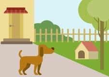 Psiej podwórzowej doghouse projekta płaskiej kreskówki zwierząt wektorowi zwierzęta domowe royalty ilustracja