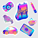 Psikhodelichny stickers. In neon colors isolated Stock Image
