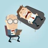 Psiquiatra divertido de la historieta con el paciente en el sofá Imagen de archivo libre de regalías