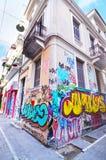 Road with colorful graffiti at Psirri neighborhood Monastiraki Athens Greece stock image