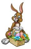 Påsk Bunny Holding Egg Hunt Basket Royaltyfri Fotografi