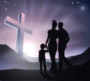 Påsk Christian Cross Family Royaltyfri Fotografi