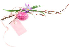 Påskägg och vårblommabakgrund Royaltyfria Foton