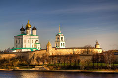 Pskov. Above the quay walls of the Kremlin and see Pskov Cathedral Royalty Free Stock Image