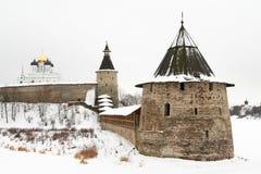 Pskov. Russia, Pskov. Ploskaya Pskov Kremlin tower in winter Royalty Free Stock Image