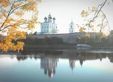 Pskov cathedral. River, autumn, church Royalty Free Stock Photos
