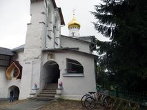Pskov Caves Monastery. View of chapel of Saint Nikolas. Royalty Free Stock Images