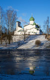 Pskov, Church of the Epiphany with Zapskove Royalty Free Stock Images