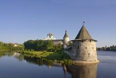 Pskov Kremlin. And Flat Tower in summer Stock Photo