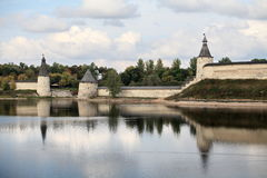 Pskov Kremlin in autumn Royalty Free Stock Photos