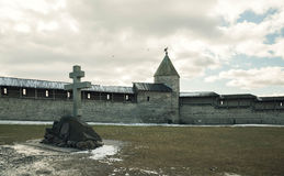 Pskov. Kremlin on background of blue sky and gray clouds Stock Photo