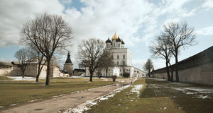Pskov. Kremlin on background of blue sky and gray clouds Royalty Free Stock Image