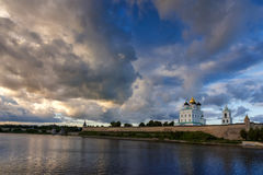 Pskov Kremlin in the evening before the storm Royalty Free Stock Image
