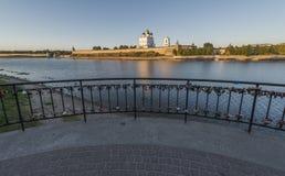 Pskov Kremlin Heilige Dreiheit-Kathedrale Stockbild