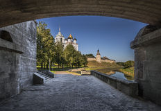 Pskov Kremlin. Holy Trinity Cathedral and bell tower. Stock Image