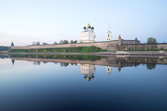 Pskov Kremlin in the may twilight from the side of the Great river Royalty Free Stock Photos
