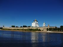 The Pskov Kremlin in the afternoon. View from the Velikaya River. royalty free stock photos