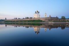 Pskov Kremlin and the river Great, evening. Pskov, Russia Royalty Free Stock Photos