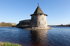 Pskov Kremlin on the river Great. Stock Image