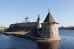 Pskov Kremlin on the river Great. Royalty Free Stock Photos