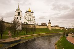 Pskov Kremlin in Russia. On the banks of the Great River Stock Image