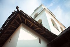 Pskov Kremlin in Russia. Pskov Kremlin in Russia, white building with a wood roof Royalty Free Stock Images