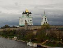 The Pskov Kremlin. The Trinity Cathedral in Pskov Kremlin Royalty Free Stock Images