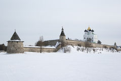 Pskov Kremlin. And Trinity Cathedral, Russia Stock Photography