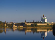 Pskov Kremlin. View of the Pskov Kremlin on the other bank of the river Great Royalty Free Stock Photography