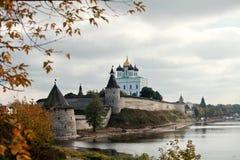 Pskov Kremlin. View of the Pskov Kremlin and river in autumn Royalty Free Stock Images