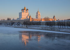 Pskov Kremlin in the winter in the first rays of the sun Stock Photo