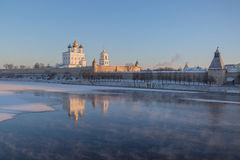 Pskov Kremlin in the winter in the first rays of the sun Stock Images