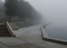 Pskov, misty morning , river and the bridge, shrouded in fog Royalty Free Stock Photos