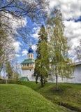 Pskov-Pechersky Monastery, Pskov, Russia. Picturesque views of the Holy Gates of the Pskov-Pechersky Monastery stock photos
