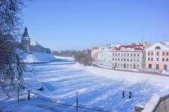 Pskov Pskova rzeka Radziecki bulwar Obraz Royalty Free
