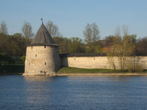 Pskov, Russia. Famous historic town Pskov, Russia, middle-ages fortress on the bank of the lake, a tower Stock Photo