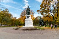 Monument to Princess Olga with her son Prince Vladimir Svyatoslavich in center of Pskov, Russia. Pskov, Russian Federation - October 13, 2018: Monument to royalty free stock image